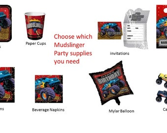 Mudslinger Monster Truck Plates Napkins Cups Invitations Balloon Loot Bags Cake Top