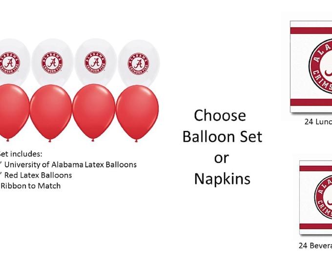 University of Alabama Balloons, Crimson Tide Balloons, University of Alabama Napkins, University of Alabama Beverage Napkins, Alabama Lunch