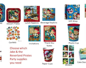 Jake and the Neverland Pirates Plates Napkins Cups Tablecover Banner Loot bags Cake Topper Gift Wrap Stickers Banner