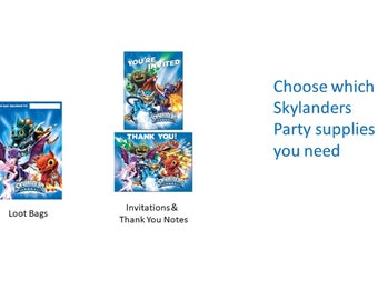 Skylanders Party Loot Bags Invitations Thank You Notes