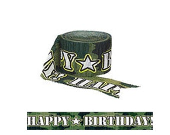 Camouflage Crepe Streamers, Army Camo Birthday Crepe Streamers