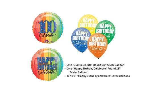 100th Birthday Mylar Balloon With Latex Balloons