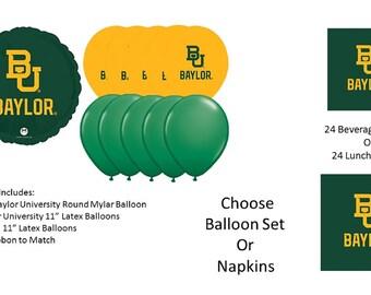 Baylor University Balloons, Baylor Bears balloons, Baylor Napkins
