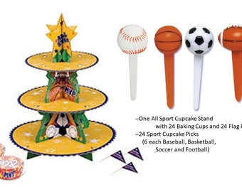 All Sports Cupcake Stand with Football, Baseball, Soccer Ball and Basketball picks, All Sport Treat Tree