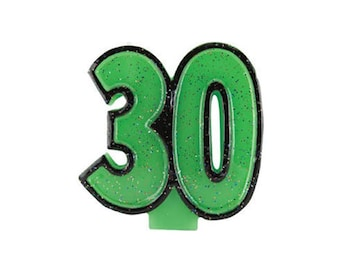 30 Candle, Number 30 Candle, Green 30 Candle