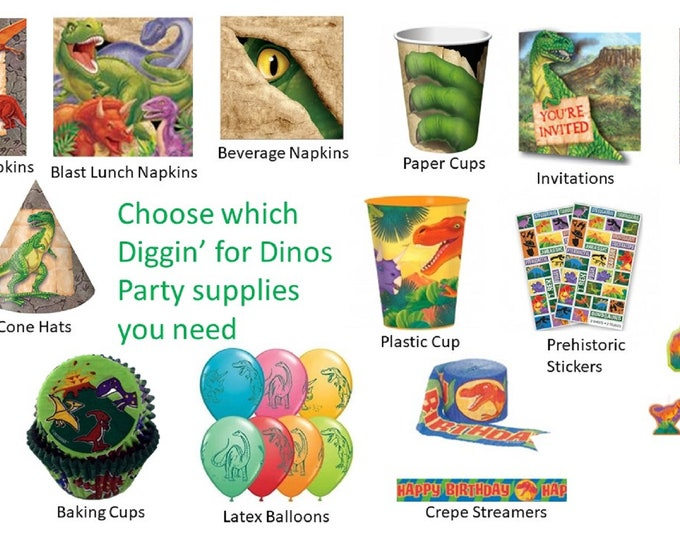 Diggin' For Dinos Party Napkins Loot Bags Invitations Stickers Baking Cups Crepe Streamers Cups