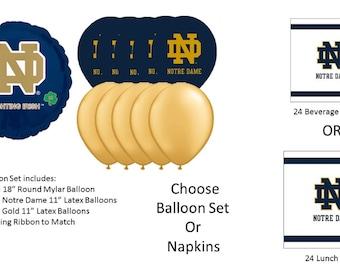 Notre Dame University Balloons, Notre Dame napkins