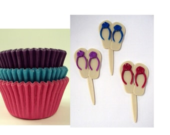 Flip Flop Cupcake Picks with Assorted Color Baking Cups