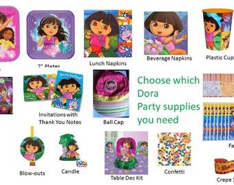 Dora the Explorer Plates Napkins Cups Invitations Favor Pack Hat
