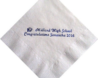 Personalized Graduation Beverage Napkins with Name Class of 2020 - Any School, Any Color