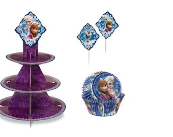 Frozen Cupcake Stand with Baking Cups and Picks