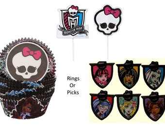 Monster High Rings OR Picks with Monster High Baking Cups