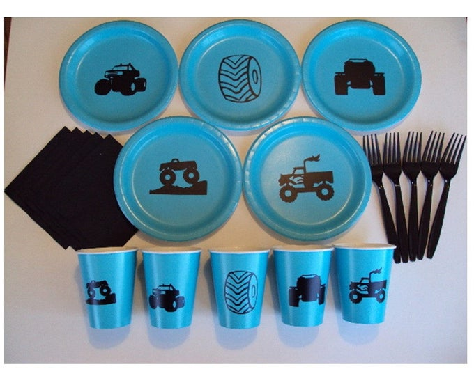 Monster Truck Tableware for 5 people, Monster Truck Birthday Party