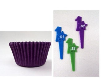 First Birthday Cupcake Picks with Purple Baking Cups