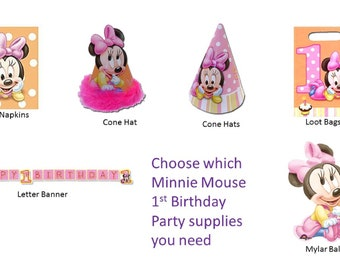 Minnie Mouse 1st Birthday Party Supplies Loot Bags Beverage napkins Cone Hats Banner Balloon