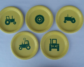 """Tractor 9"""" Dinner Plates with Solid Color Lunch Napkins - Set for 5 People"""