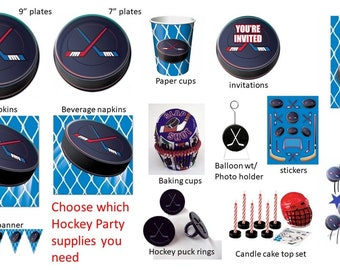 Hockey Plates Napkins Cups Loot bags Banner Stickers Cake top Ringsdys