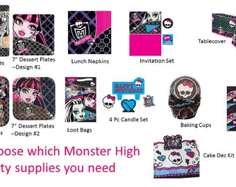 Monster High Plates, Monster High Napkins, Monster High Loot Bags, Monster High Tablecover, Monster High Gift Wrap Candles Cake Top