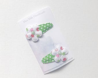 Green and Red Dotty Flower Baby Hair clips, baby snap clips, baby hair accessories, infant, toddler hair clips, toddler hair accessories
