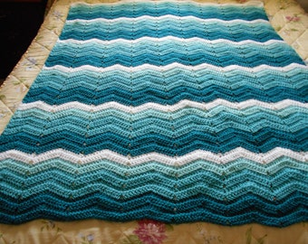 A Super Soft Crocheted Large Teal Afghan