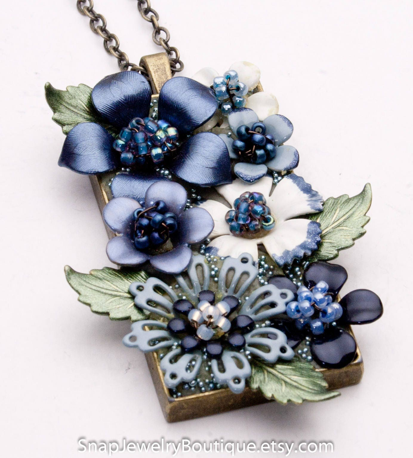 Flower Pendant Hand Painted Flowers Blue Flower Necklace Etsy