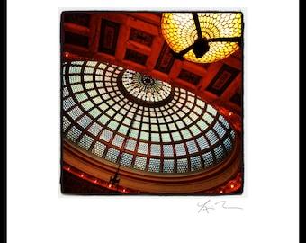 Tiffany Dome - Photographic Print or Canvas Wrap  Chicago Photography Artwork fine art home  fun decor cultural center city glass red orange