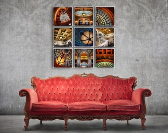 Chicago Cultural Center Wall Collage - Grouping of 6 or 9 Canvas Wrapped Prints Photography Artwork fine home decor fun tiffany dome classic