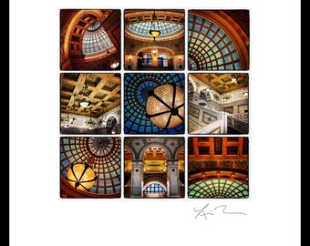 Chicago Cultural Center Collage- Photographic Print or Canvas Wrap Photography Artwork fine art home decor colorful fun tiffany glass dome