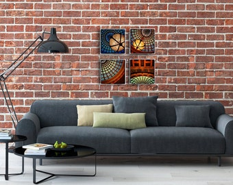 Cultural Center Wall Collage - Grouping of 4 Canvas Wrapped Prints - Chicago Photography Fine Art home decor tiffany glass dome colorful fun