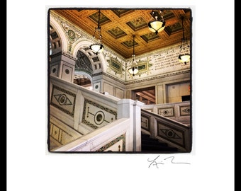 Cultural Center Staircase - Photographic Print or Canvas Wrap Chicago Photography Artwork fine art home  fun decor city tiffany ceiling