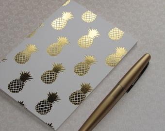 """Traveler's Notebook Insert--""""Gold-Foiled Pineapple"""" Notebook Journal Bullet Journal A5 Cahier B6 A6 Personal Field Notes Passport A7"""