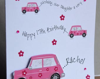 Lovely Personalised Handmade 3D Pink Car With Flowers Birthday Card Any Age Daughter Niece Granddaughter Sister Friend