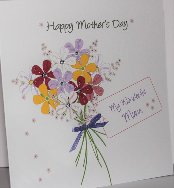 Personalised Mother/'s Day Card Handmade Mum Mummy Lovely Mum Mom Mam Mama Mammy