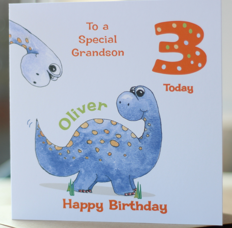 Personalised DINOSAUR LION Birthday Card Son Grandson Nephew Boy 1st 2nd 3rd 4th