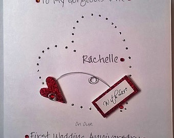 Personalised Handmade Wife First Wedding  Anniversary Card. Second,Third, Fourth, etc.