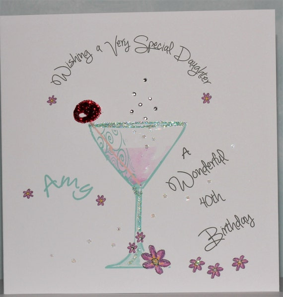 Lovely Personalised Handmade 40th Birthday Cocktail Glass