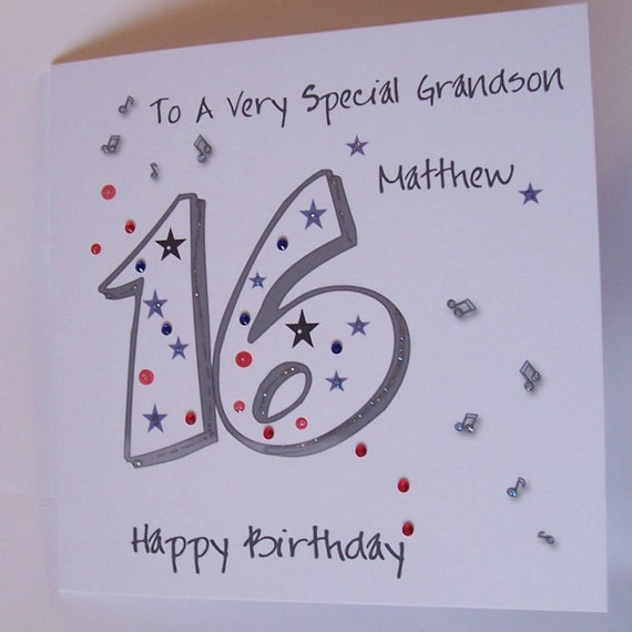 Personalised Handmade 16th Birthday Card Son Grandson Etsy