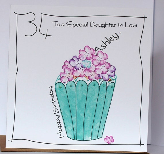 Personalised Birthday Card  Cup Cakes Friend Niece Sister in Law auntie Cousin Home, Furniture & DIY