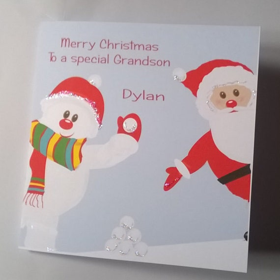 Handmade Personalised Christmas Card Daughter Son Granddaughter Grandson Niece