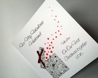 Personalised Handmade 1st Christmas Together Card.Husband or Wife