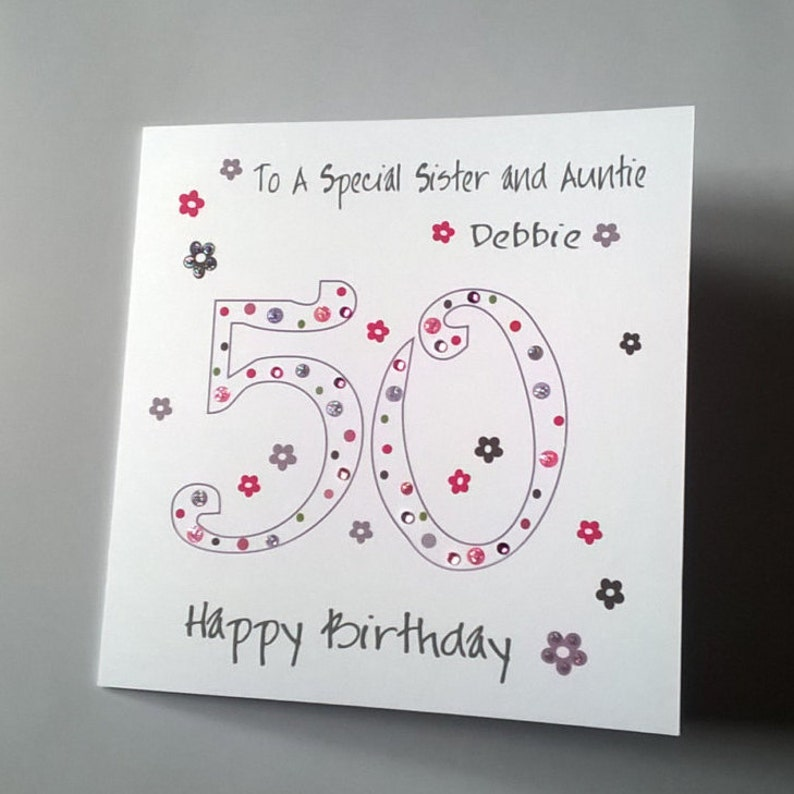 Lovely Personalised Handmade 50th Birthday Card Sister
