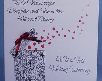 Personalised Handmade 1st  to 40th Wedding Anniversary card.
