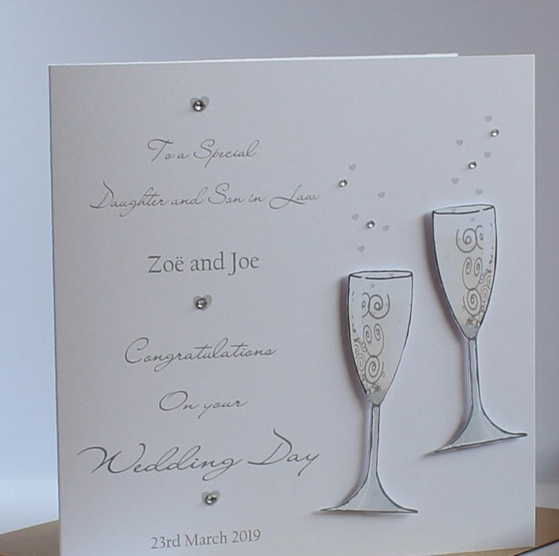 Lovely Personalised Handmade Wedding Day 3d Champagne Glasses design Card.Daughter n Son in Law,Son n Daughter in Law,Special Couple,Friends