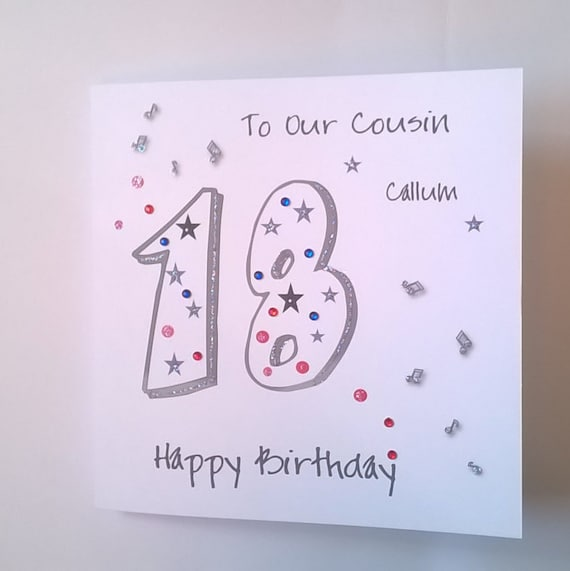 Lovely Personalised Handmade 18th Birthday Card Musical Notes