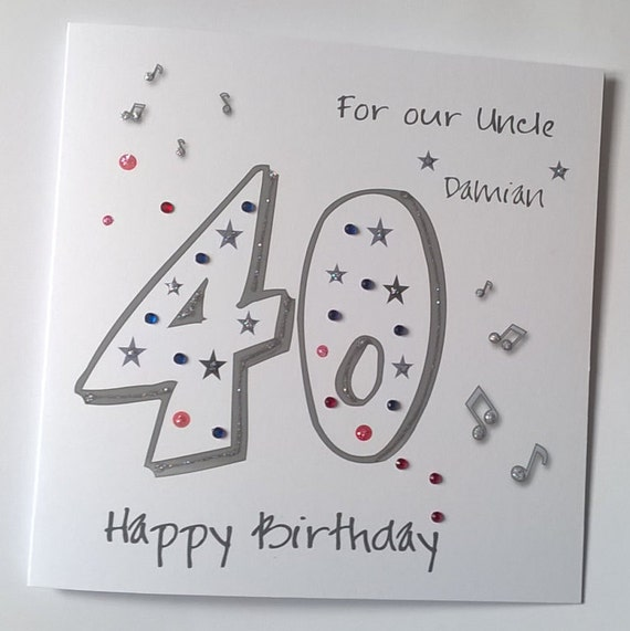Lovely Personalised Handmade 40th Birthday Card Musical Notes