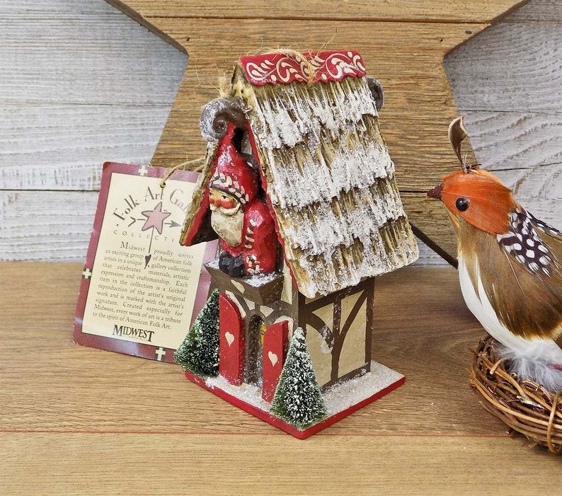 Midwest of Cannon Falls Folk Art Gallery Collection Signed to Back /& Orig Pam Schifferl Santa/'s Birdhouse Ornament New Old Stock Hang Tag
