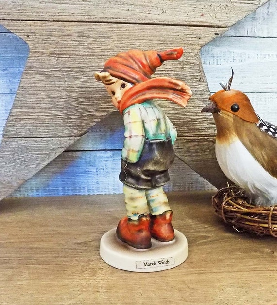 Hummel March Winds Figurine Goebel W. Germany Signed TMK 5 ca. 1972 to 1976 #43 Boy w Hat & Blowing Scarf 155962 Compare at 140.00 USD