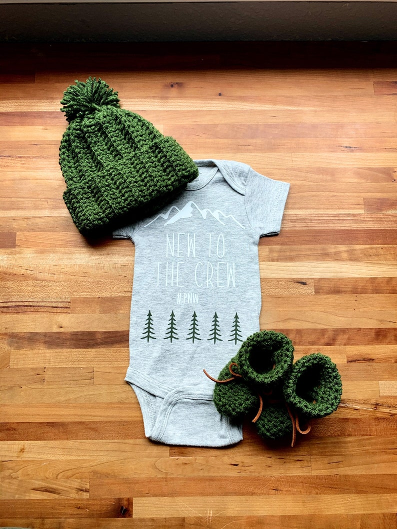 PNW New To The Crew Onesie Hat and Booties Newborn Gift Set