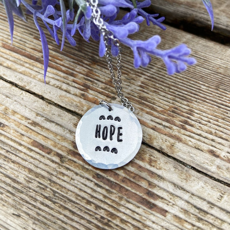 Simple Metal Stamped Rainbow Hope Necklace Lightweight Round Charm Necklace Simple Jewelry Best Friend Gift Sister Gift