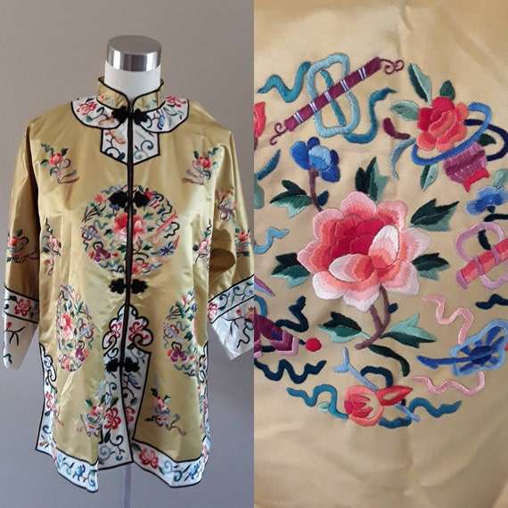 Chinese Silk Jacket-Gold-LARGE-1960's jacket Embro